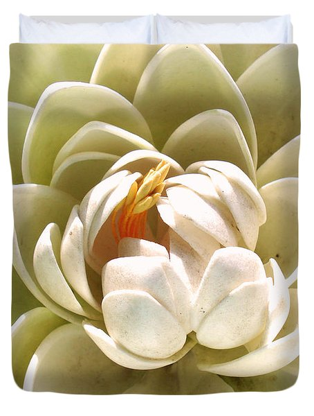 White Blooming Lotus Duvet Cover