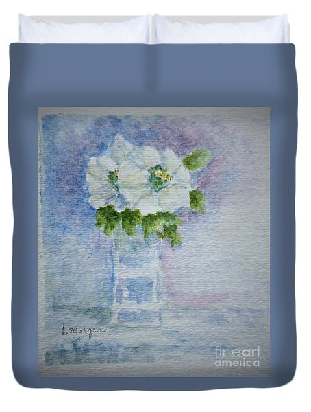 White Blooms In Blue Vase Duvet Cover