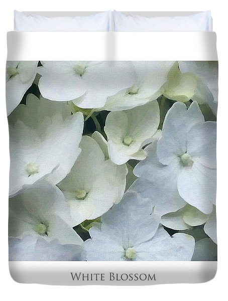 Duvet Cover featuring the digital art White Blossom by Julian Perry