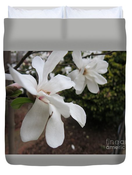White Blossoms Duvet Cover