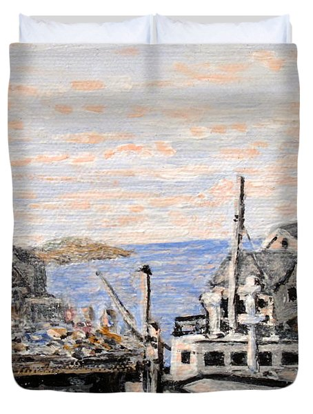 Duvet Cover featuring the painting White Boat In Peggys Cove Nova Scotia by Ian  MacDonald