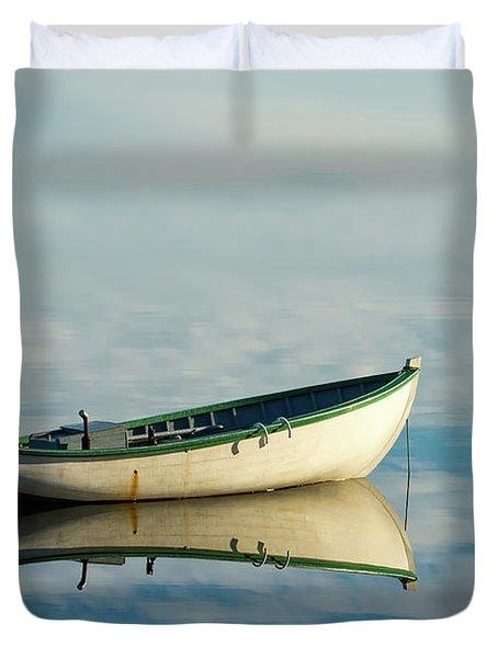 White Boat Reflected Duvet Cover