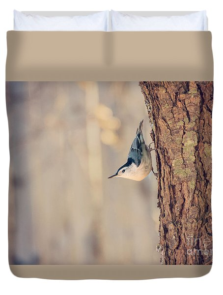 Duvet Cover featuring the photograph White Breasted Nuthatch by Rima Biswas