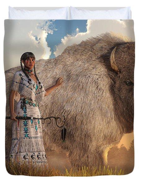 White Buffalo Calf Woman Duvet Cover