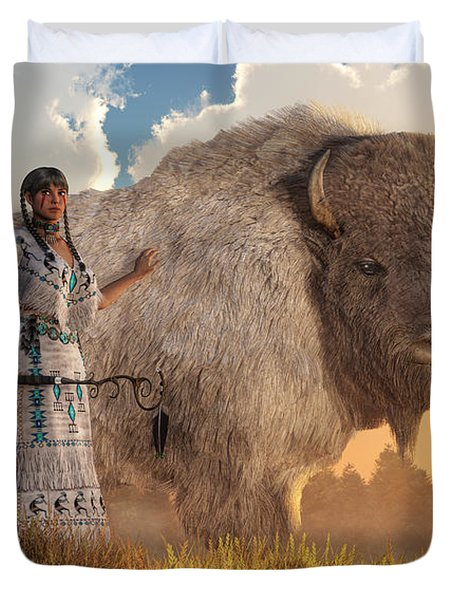 Duvet Cover featuring the digital art White Buffalo Calf Woman by Daniel Eskridge