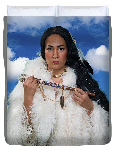 White Buffalo Calf Woman Duvet Cover