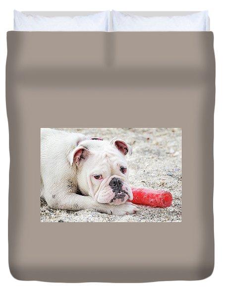 White Bull Dog Duvet Cover