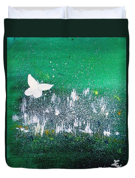 White Butterfly In Clover Blooms Duvet Cover by Loretta Nash