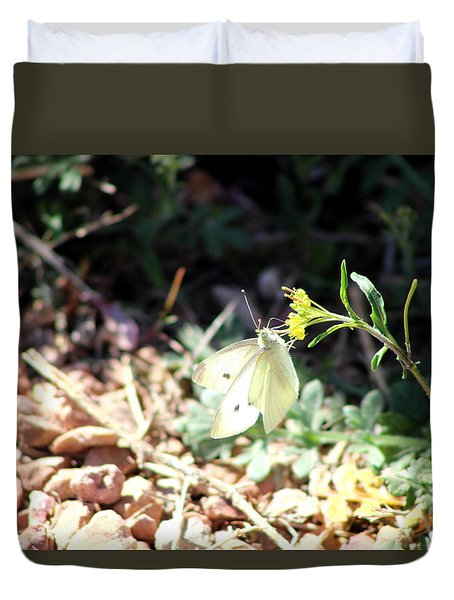 White Butterfly On Goldenseal Duvet Cover by Colleen Cornelius