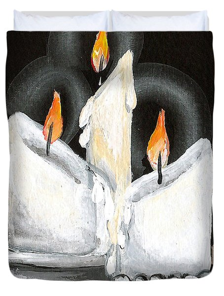 White Candle Trio Duvet Cover by Elaine Hodges