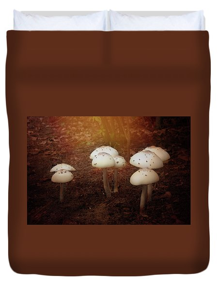 White Cap Mushrooms Duvet Cover by Carolyn Dalessandro