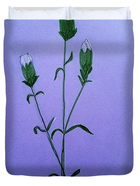 Duvet Cover featuring the painting White Carnations by Margaret Welsh Willowsilk