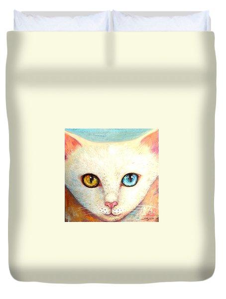 White Cat Duvet Cover by Shijun Munns