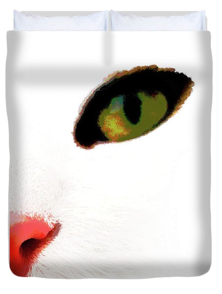 White Cats Face Duvet Cover