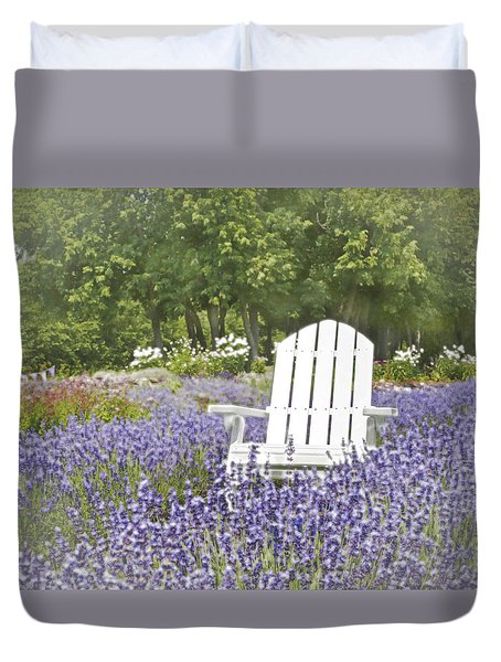 Duvet Cover featuring the photograph White Chair In A Field Of Lavender Flowers by Brooke T Ryan