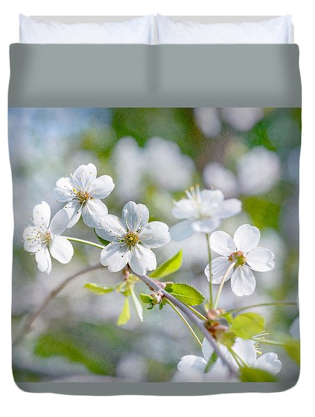 White Cherry Blossoms In Spring Duvet Cover