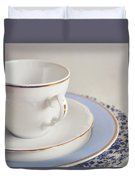 Duvet Cover featuring the photograph White China Cup, Saucer And Plates by Lyn Randle