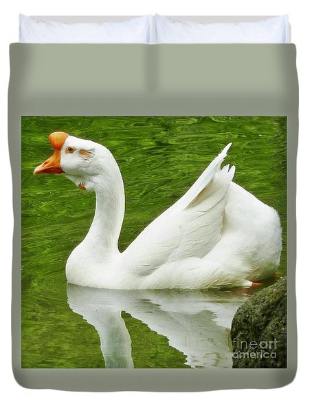 Duvet Cover featuring the photograph White Chinese Goose by Susan Garren