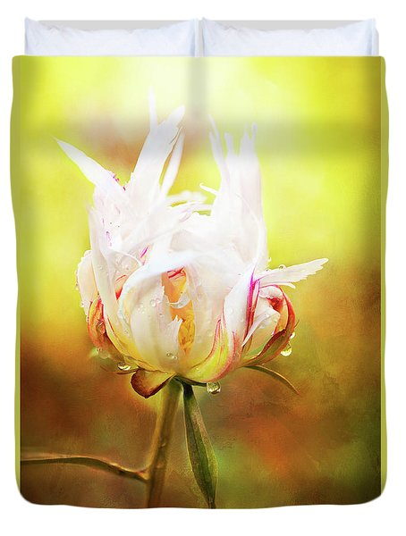 White Chinese Peony Laden With Raindrops Duvet Cover