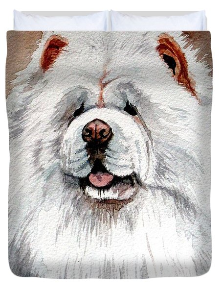 White Chow Chow Duvet Cover by Christopher Shellhammer