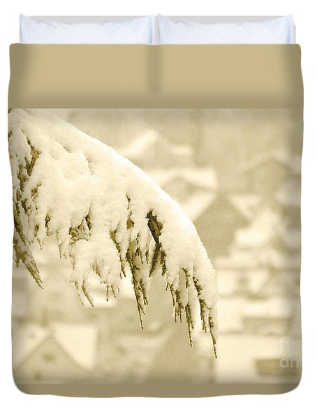Duvet Cover featuring the photograph White Christmas - Winter In Switzerland by Susanne Van Hulst