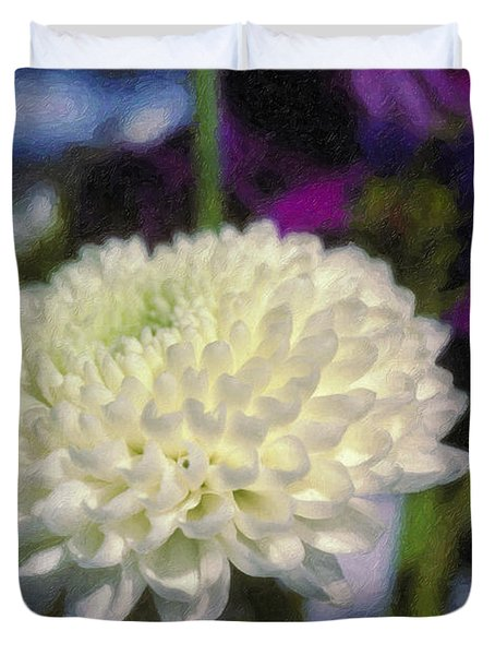 Duvet Cover featuring the photograph White Chrysanthemum Flower by David Zanzinger