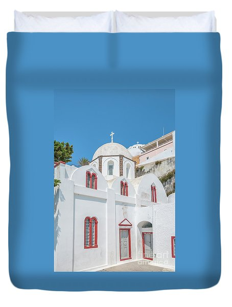 Duvet Cover featuring the photograph White Church At Fira by Antony McAulay