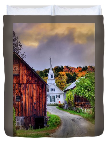 Duvet Cover featuring the photograph White Church In Autumn - Waits River Vermont by Joann Vitali