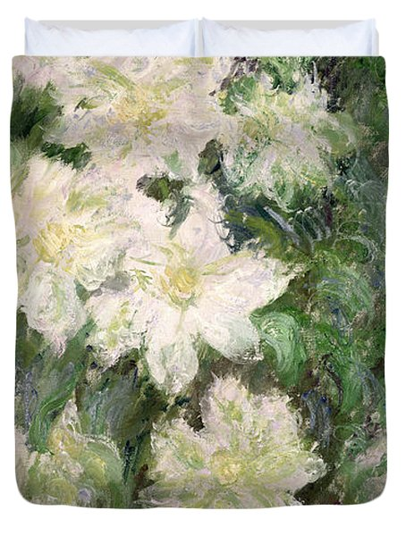 White Clematis Duvet Cover by Claude Monet
