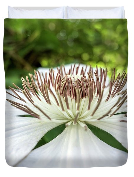 White Clematis Flower Garden 50146 Duvet Cover