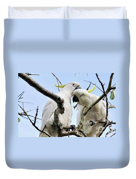 White Cockatoos Duvet Cover