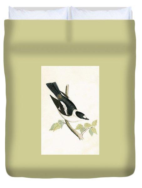 White Collared Flycatcher Duvet Cover