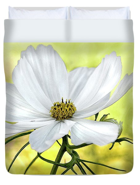 White Cosmos Floral Duvet Cover