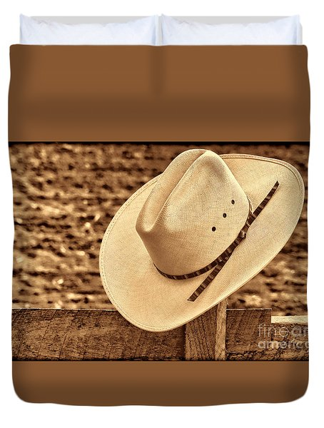 White Cowboy Hat On Fence Duvet Cover