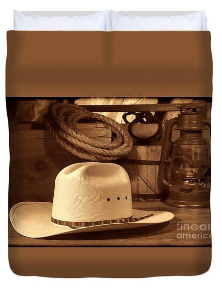 White Cowboy Hat On Workbench Duvet Cover