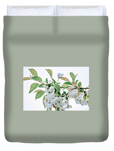 White Crabapple Blossoms Duvet Cover