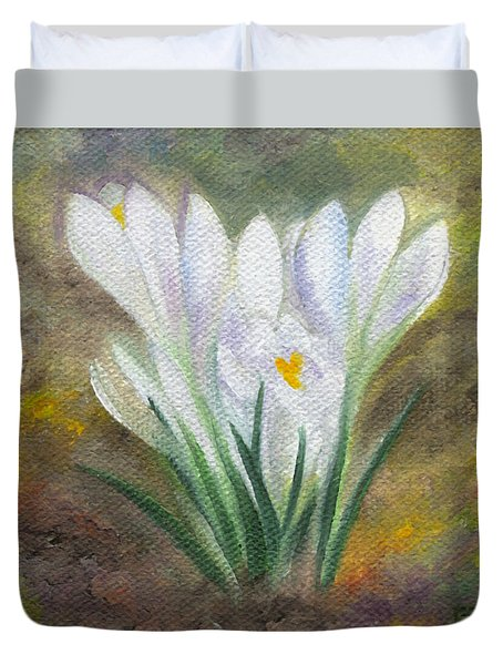White Crocus Duvet Cover