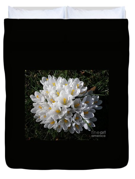 White Crocuses Duvet Cover