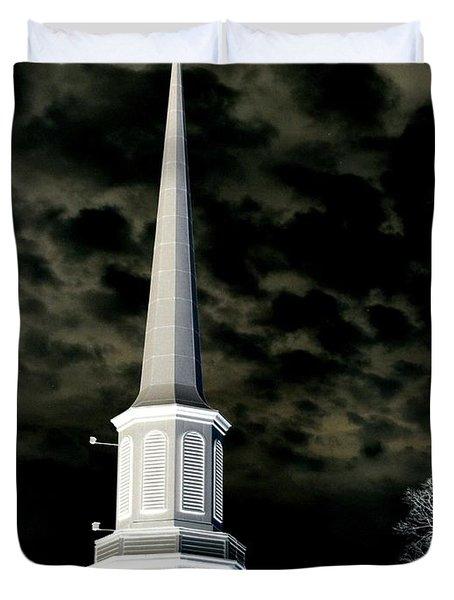 White Cross Dark Skies Duvet Cover