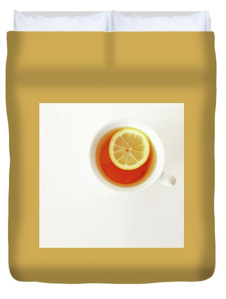 White Cup Of Tea With Lemon Duvet Cover