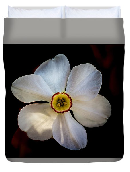 Duvet Cover featuring the photograph White Daffodil by Jay Stockhaus