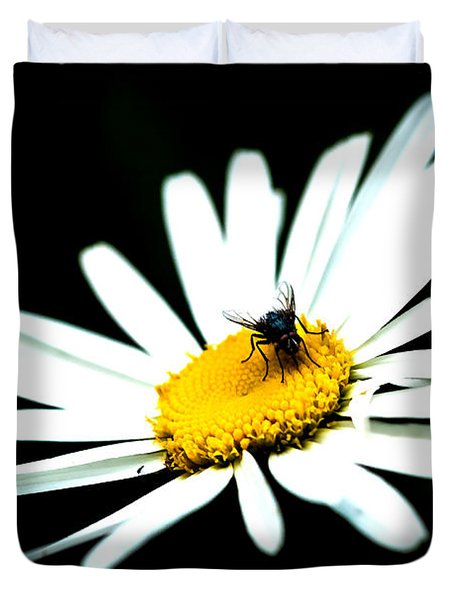 Duvet Cover featuring the photograph White Daisy Flower And A Fly by Alexander Senin