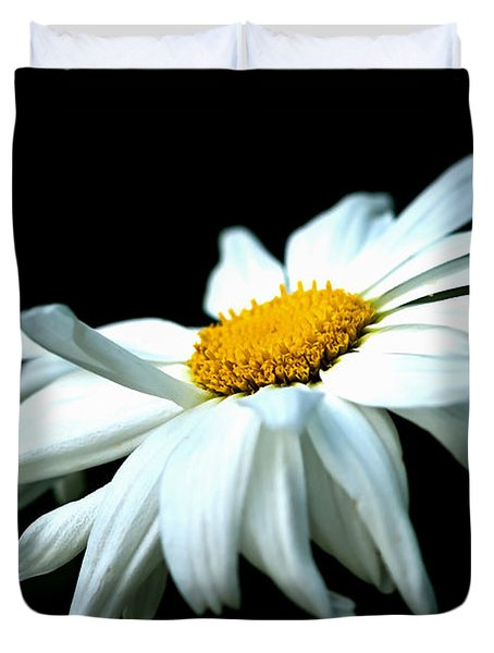 Duvet Cover featuring the photograph White Daisy Flower In The Wind by Alexander Senin
