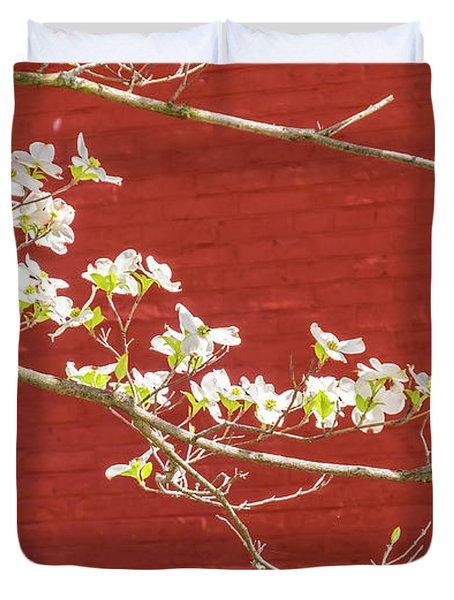 White Dogwood Brick Wall Duvet Cover