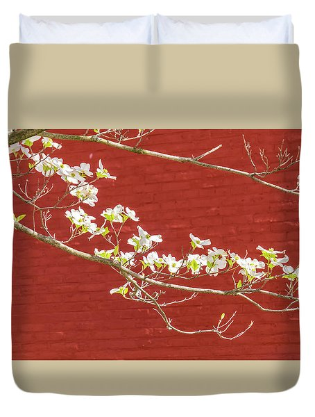 White Dogwood Brick Wall Duvet Cover