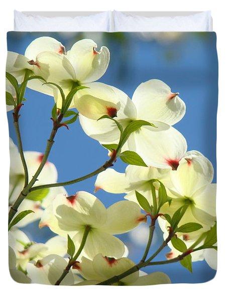 White Dogwood Flowers 1 Blue Sky Landscape Artwork Dogwood Tree Art Prints Canvas Framed Duvet Cover by Baslee Troutman