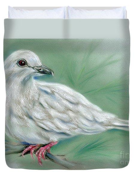 White Dove In The Pine Duvet Cover