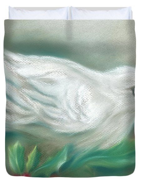 White Dove With Christmas Holly Duvet Cover