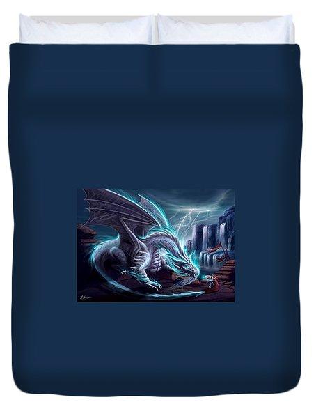 White Dragon Duvet Cover by Anthony Christou