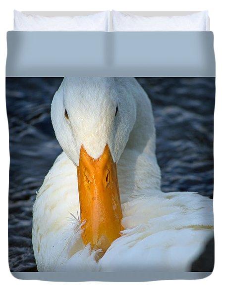 White Duck Primping Duvet Cover